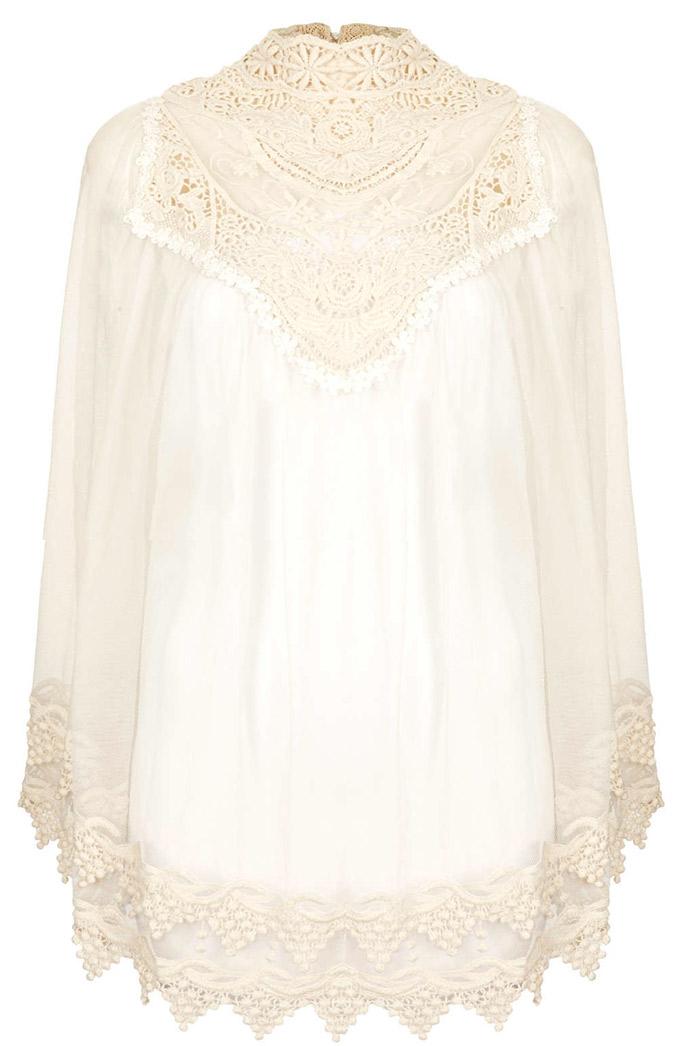 blusa blanca de encaje vintage de Top Shop