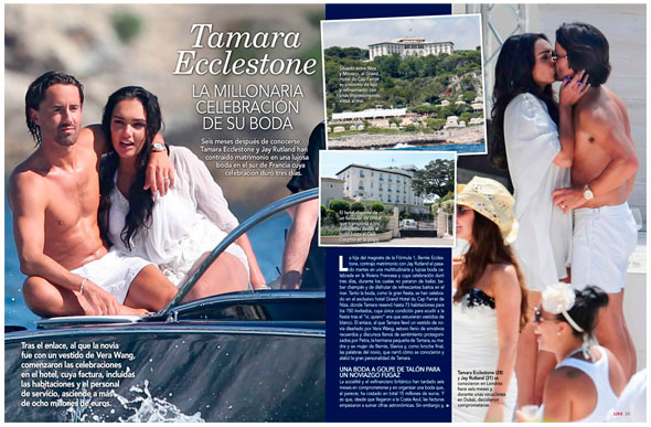 detalles en prensa de la multimillonaria boda de Tamara Ecclestone