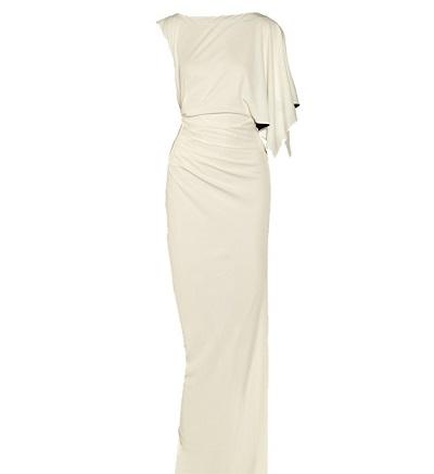 vestido de novia de corte asimétrico de Vionnet