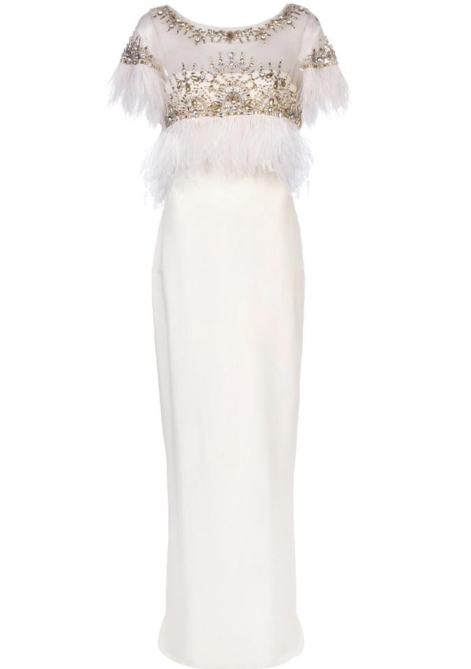 vestido de fiesta en color blanco de Marchesa