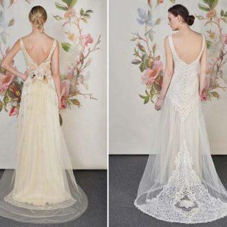 dos propuestas de vestidos de novia con cola de Claire Petitbone