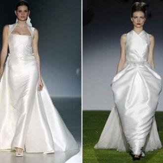 vestido de novia con cola de Franc Sarabia y vestido de novia con cola de Miquel Suay