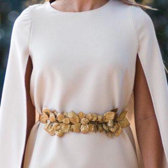 cinturón joya para novias con hojas doradas de Verdemint