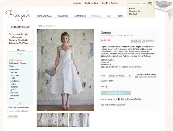 captura de compra de vestido de novia en página web