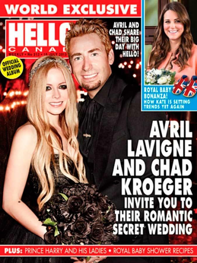 portada de la revista Hello de la boda de Avril Lavigne