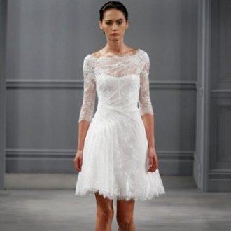 vestido de novia de manga larga de Monique Lhuiillier