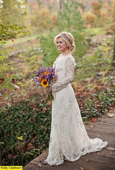 Kelly Clarkson con su vestido de novia de Temperley