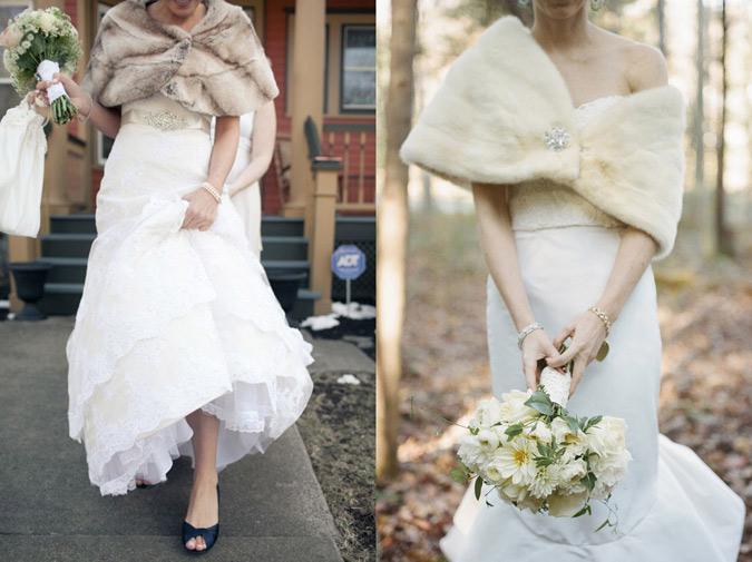 dos opciones de estola de piel para novias