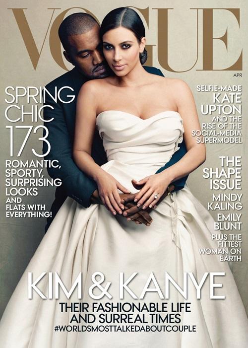 kim kardashian y kanye west boda en portada vogue