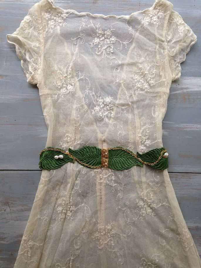 cinturón novia extremado en color verde