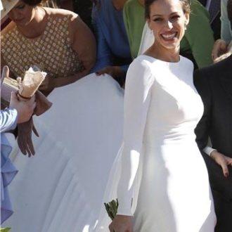 vestido de novia de Eva González frontal