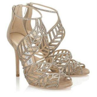 sandalia alta para novias con brillantes