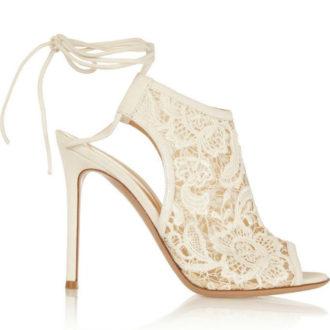 sandalia alta para novias de encaje talón abierto