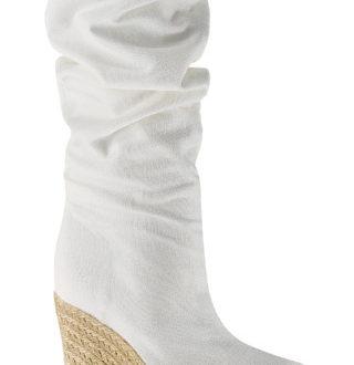 bota de caña alta con cuña de esparto para novia