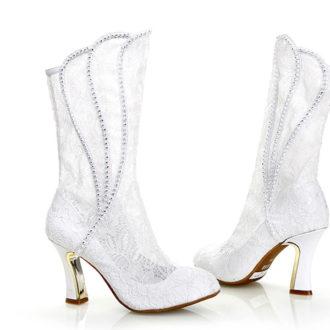 bota de caña alta victoriana para novias de encaje