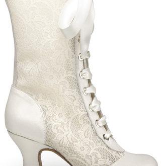bota caña media victoriana para novias acordonada de encaje