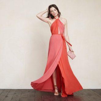 vestido para invitada de boda bicolor, rojo y rosa