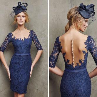 vestido para invitada de boda de encaje color azul