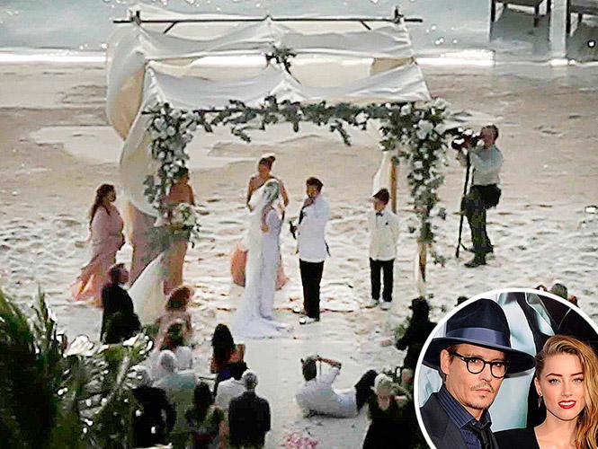 foto de la boda en la playa de Johnny Depp y Amber Heard