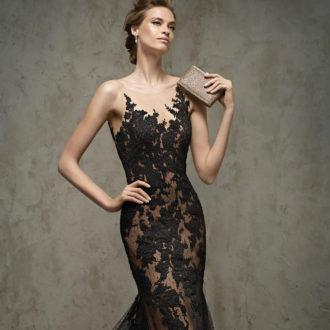 vestido para invitada de boda con transparencias negro