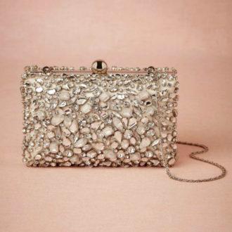 clutch para novia glitter con pedrería brillante