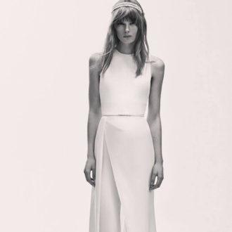 vestido de novia de corte geométrico con cinturón de la colección de Elie Saab