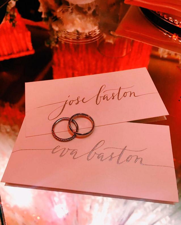 Alianzas de la boda de Eva Longoria y José Bastón