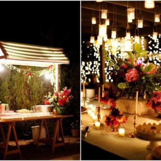 barras temáticas de comida para boda millennial al aire libre