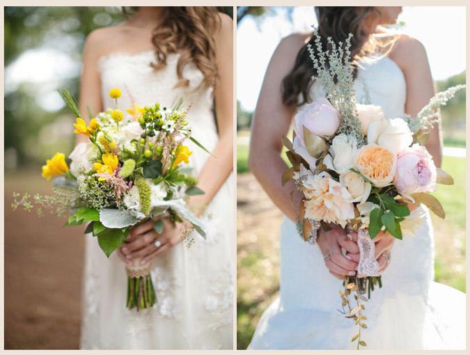 novia con vestido strapless con ramo suelto y femenino