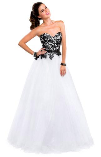 novia con vestido strapless con encaje en color negro