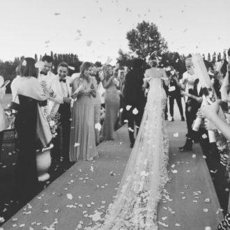 vista trasera del vestido de novia de Gabriela Palatchi