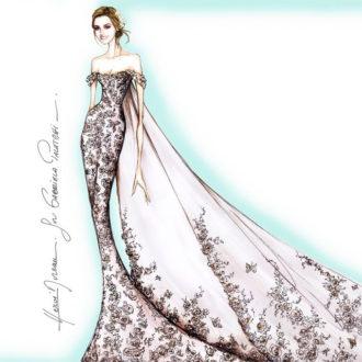 boceto de Atelier Pronovias del vestido de novia de Gabriela Palatchi