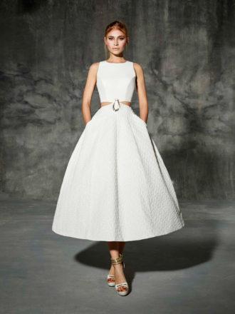 novia con vestido midi Escorial de YolanCris
