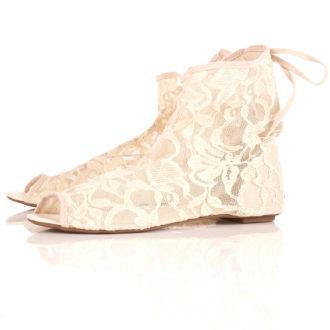 botines de encaje para novia