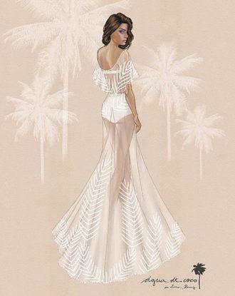 diseño del vestido de novia de Isabeli Fontana de Água de Coco