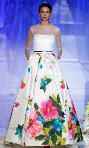 novia con vestido estampado de Patricia Avendaño