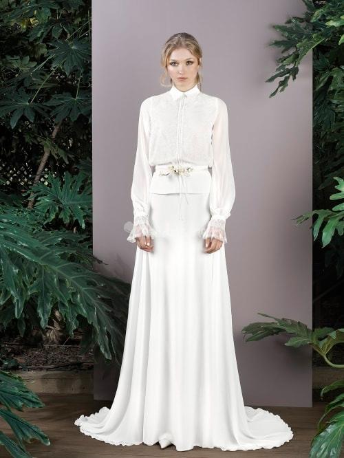 novia con vestido camisero