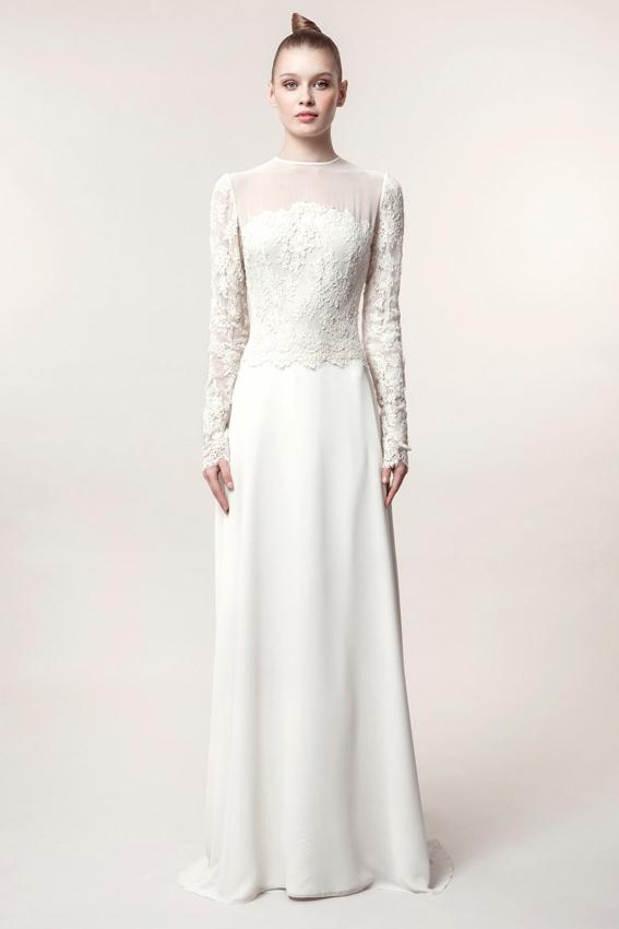 novia con vestido de manga larga
