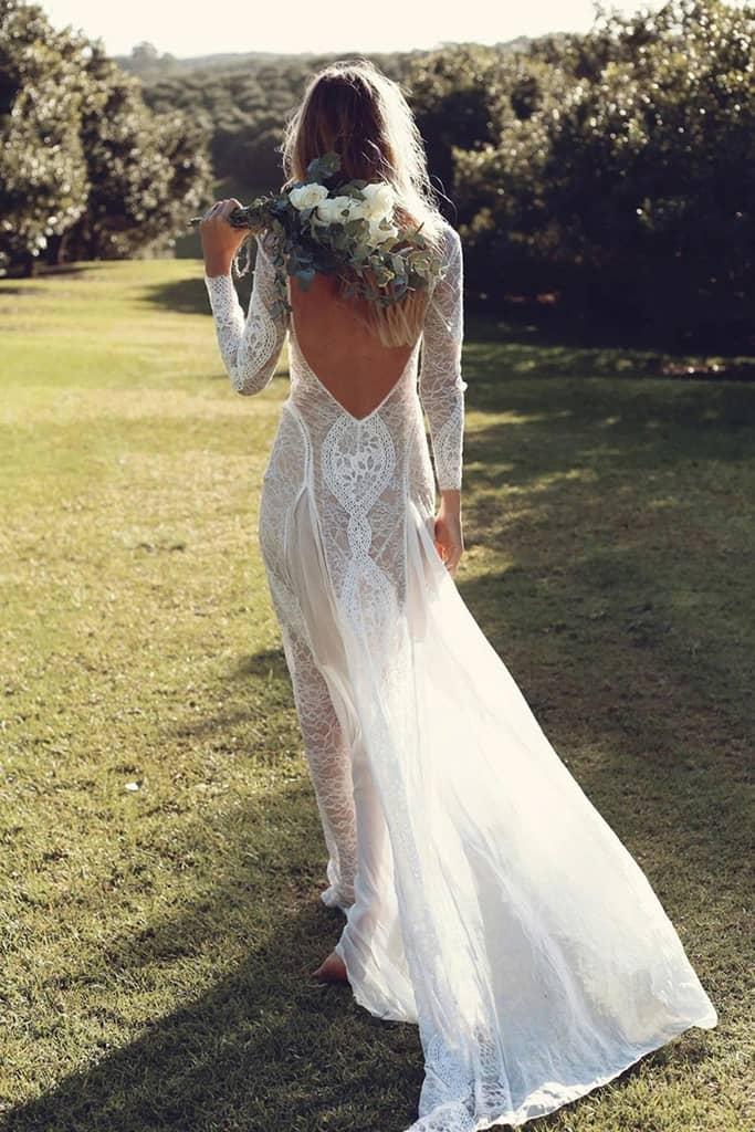 Vestido novia bohemio encaje línea A