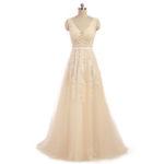 Vestido de novia de corte en A en organza y tul con decoraciones de encaje