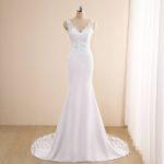 Vestido novia corte sirena escote pico detalles encaje