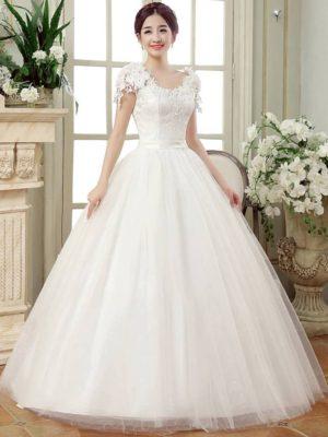 Vestido novia estilo princesa encaje escote V