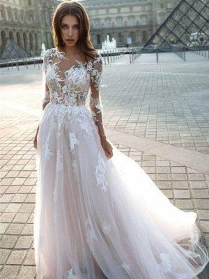 Vestido novia línea A manga larga escote ilusión