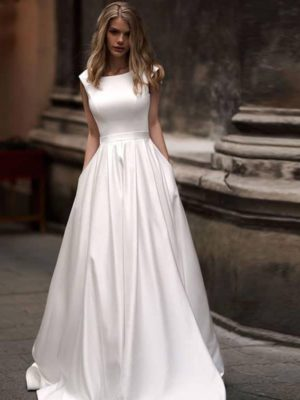 Vestido novia sencillo corte A bolsillos