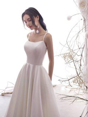 Vestido novia tobillero satén