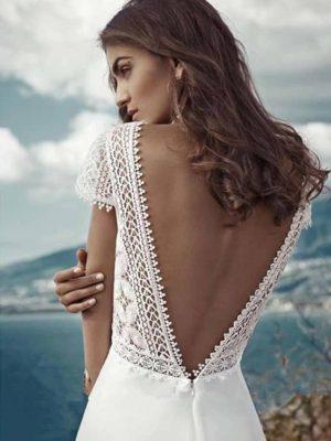 Vestido novia boho línea A encaje espalda aire