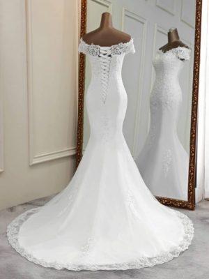 Vestido novia corte sirena apliques florales encaje