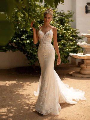Vestido novia corte sirena cuerpo encaje tirantes finos