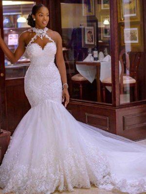Vestido novia corte sirena escote halter transparencias