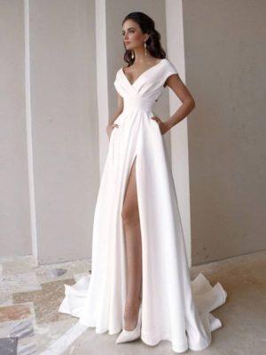 Vestido novia línea A con escote en V y bolsillos